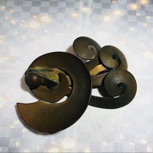 Vintage 60's handmade brutalist brass brooch